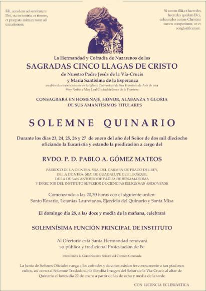 Convocatoria Quinario Llagas 2018