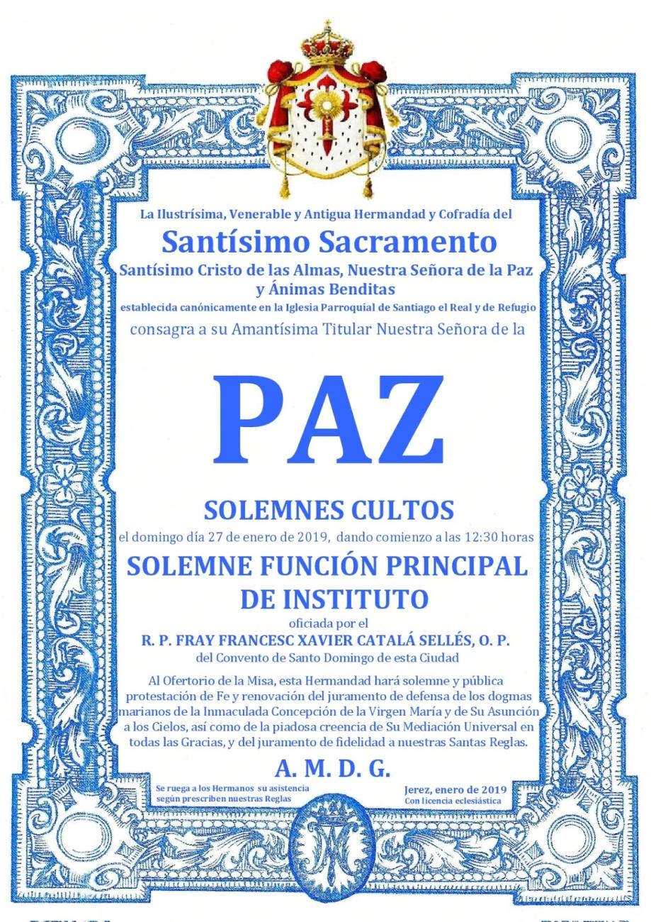 Función Principal de Instituto Sacramental