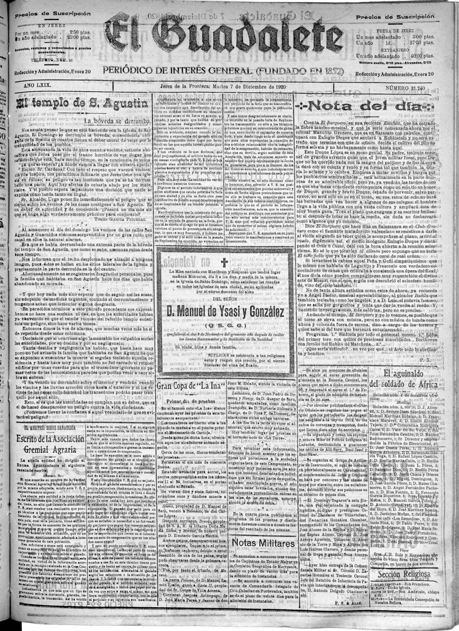 El Guadalete – 7 de diciembre de 1920